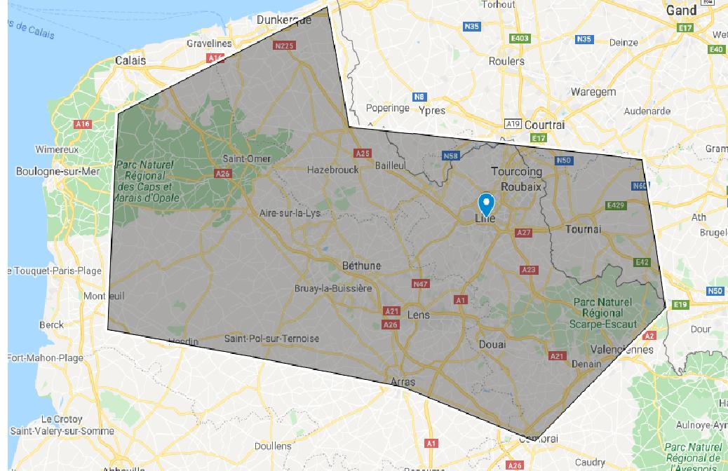 Google map intervention sur Lille et les haut de France
